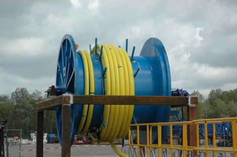 Spooling operation of the Dana Petroleum gas export flexible at Oceanteam Solutions facility